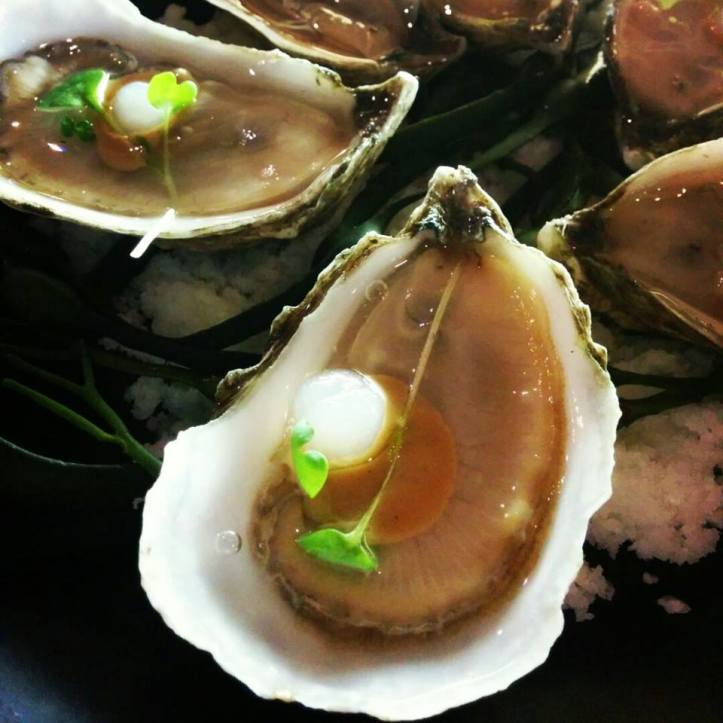 "Harbour point oyster, smoked sherry ""pearl"", roasted shallot mignonette"