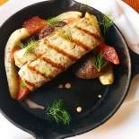 Grilled kingfish, confit purple potato and fennel, grapefruit and grapefruit vinaigrette. Simple. Delicious.