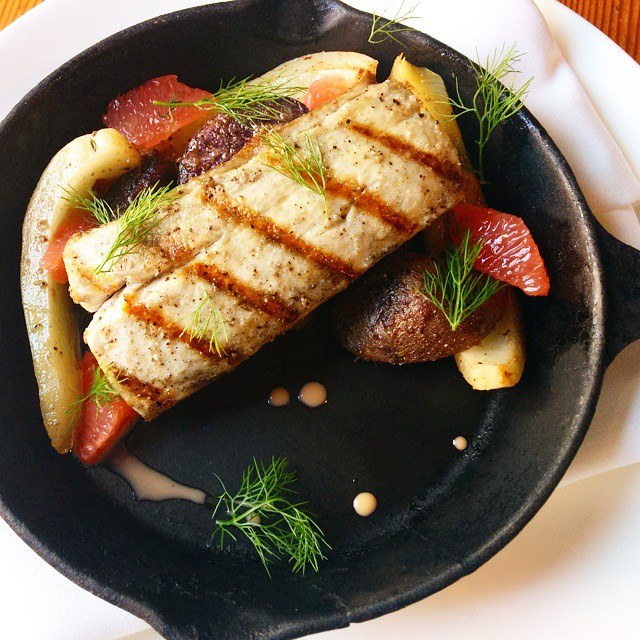 Grilled kingfish, confit purple potato and fennel, grapefruit and grapefruit vinaigrette. Simple. Delicious.