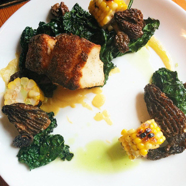 Potato dusted chilean seabass with grilled tuscan kale, porn puree, grilled corn, morels and chive oil.