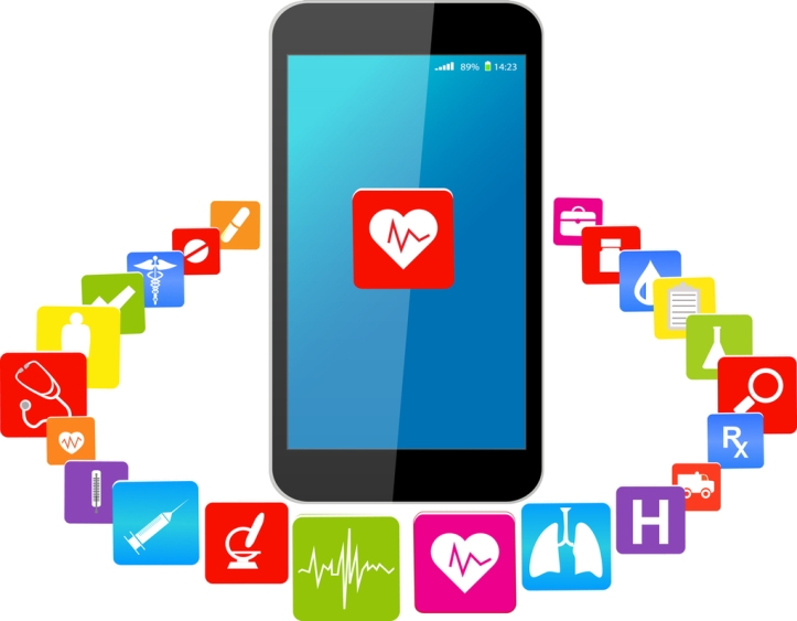 Blue Touchscreen Smart phones with colorful medical application icons