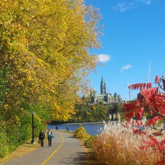 Many residents of Ottawa walk along the river to relax.